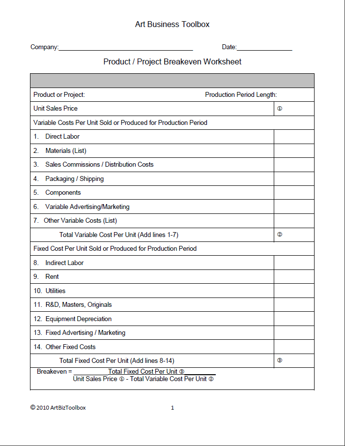 Break Even Analysis – Art Analysis Worksheet