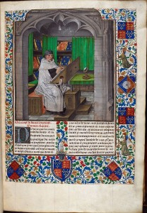 Image of scribe copying a manuscript