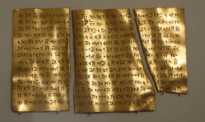 Image of ancient inscriptions on a gold plaque